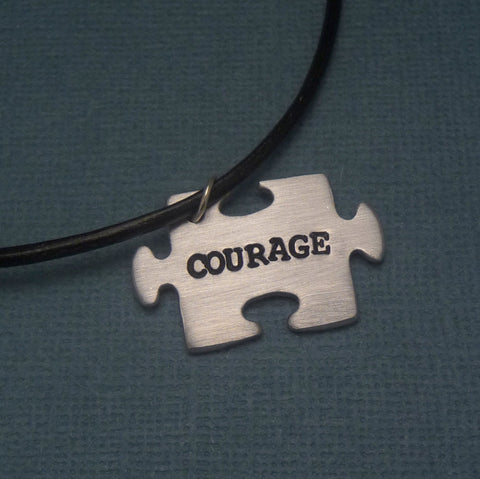 Glee Inspired - Courage - A Hand Stamped Aluminum Puzzle Piece Necklace