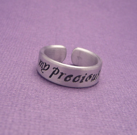 Tolkien Inspired - My Precious - A Hand Stamped Aluminum Ring