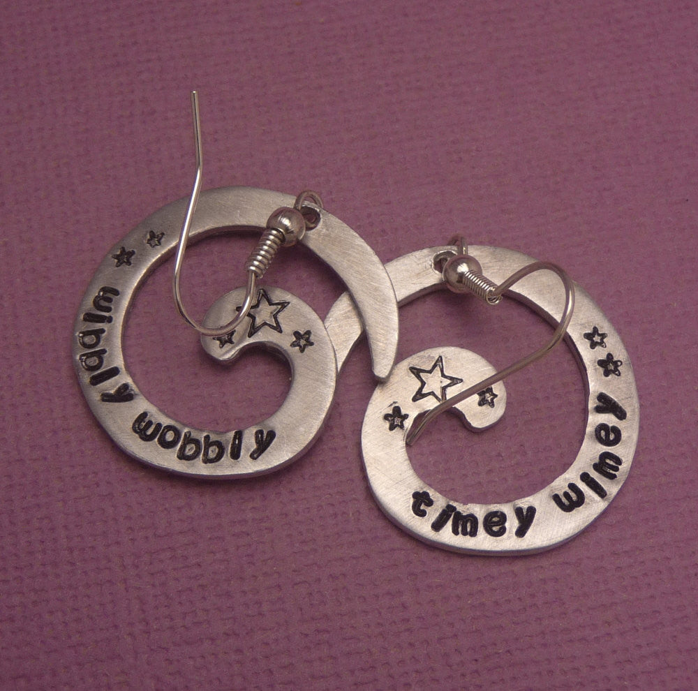 Doctor Who Inspired - WIbbly Wobbly & Timey Wimey - A Pair of Hand Stamped Aluminum Spiral Earrings