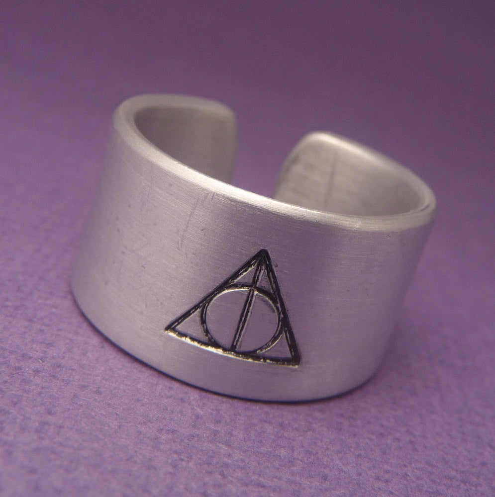 Harry Potter Inspired - Deathly Hallows - A Hand Stamped Aluminum Ring