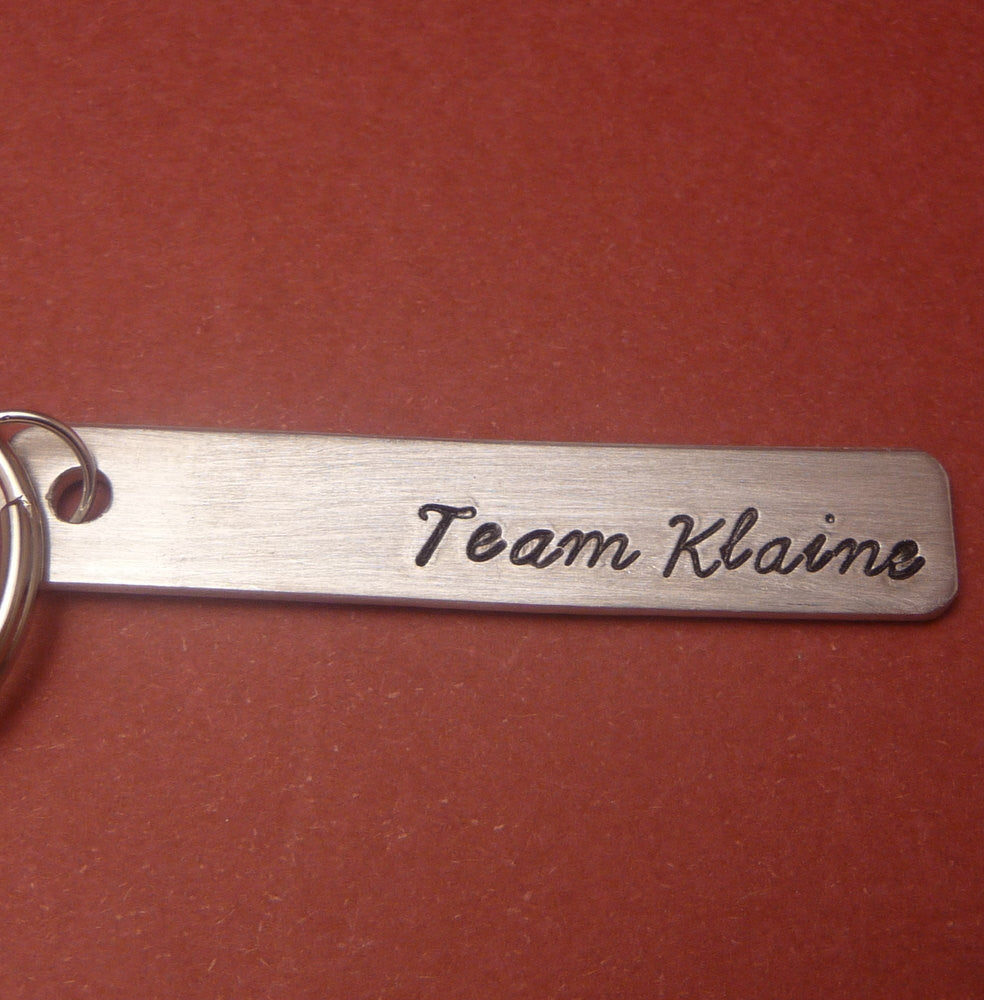 Glee Inspired - Team Klaine - A Hand Stamped Aluminum Keychain