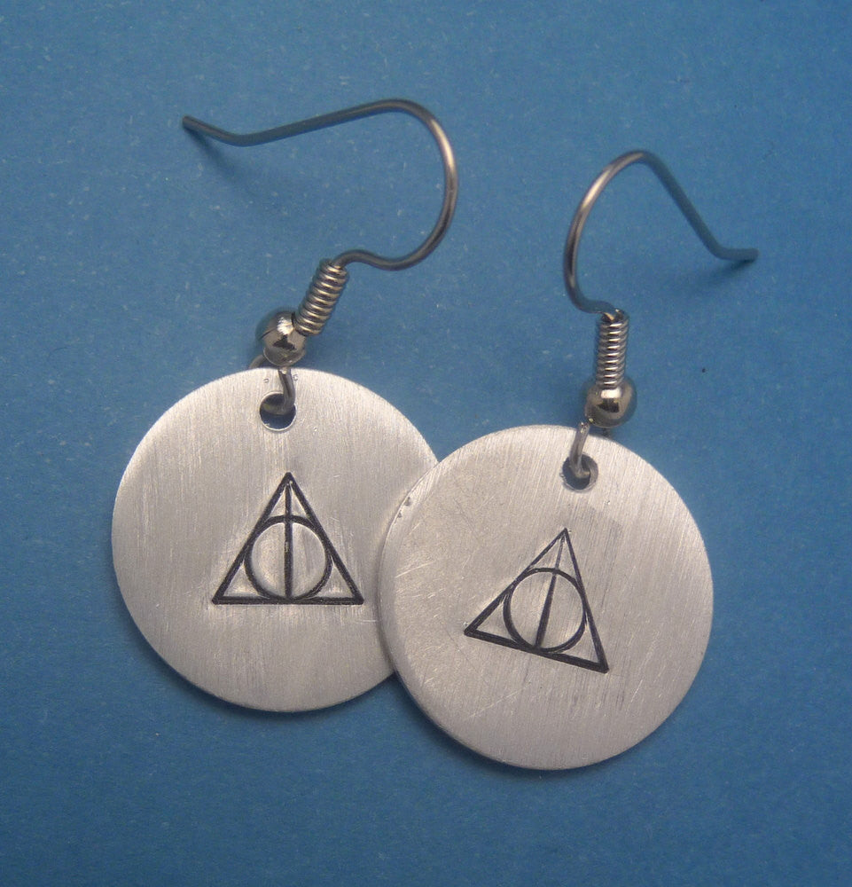 Harry Potter Inspired - Deathly Hallows - A Pair of Hand Stamped Aluminum Earrings