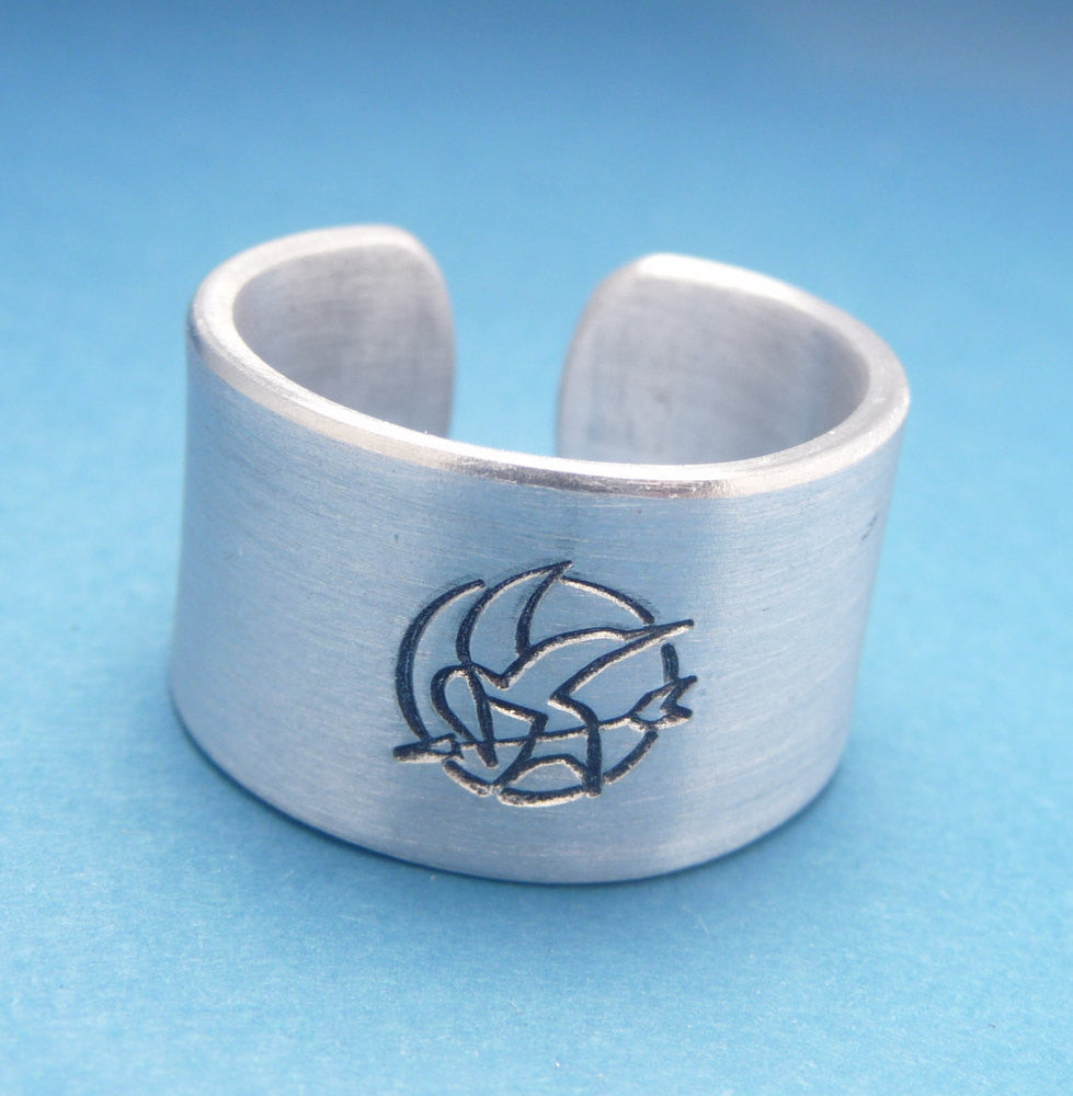 Hunger Games Inspired - Mockingjay - A Hand Stamped Aluminum Ring