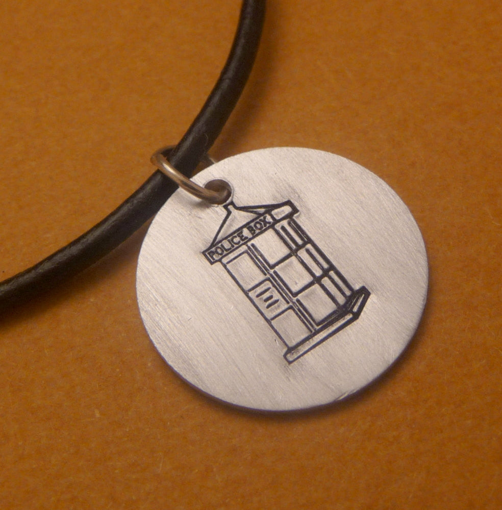 Doctor Who Inspired - The TARDIS - A Hand Stamped Aluminum Disc Necklace