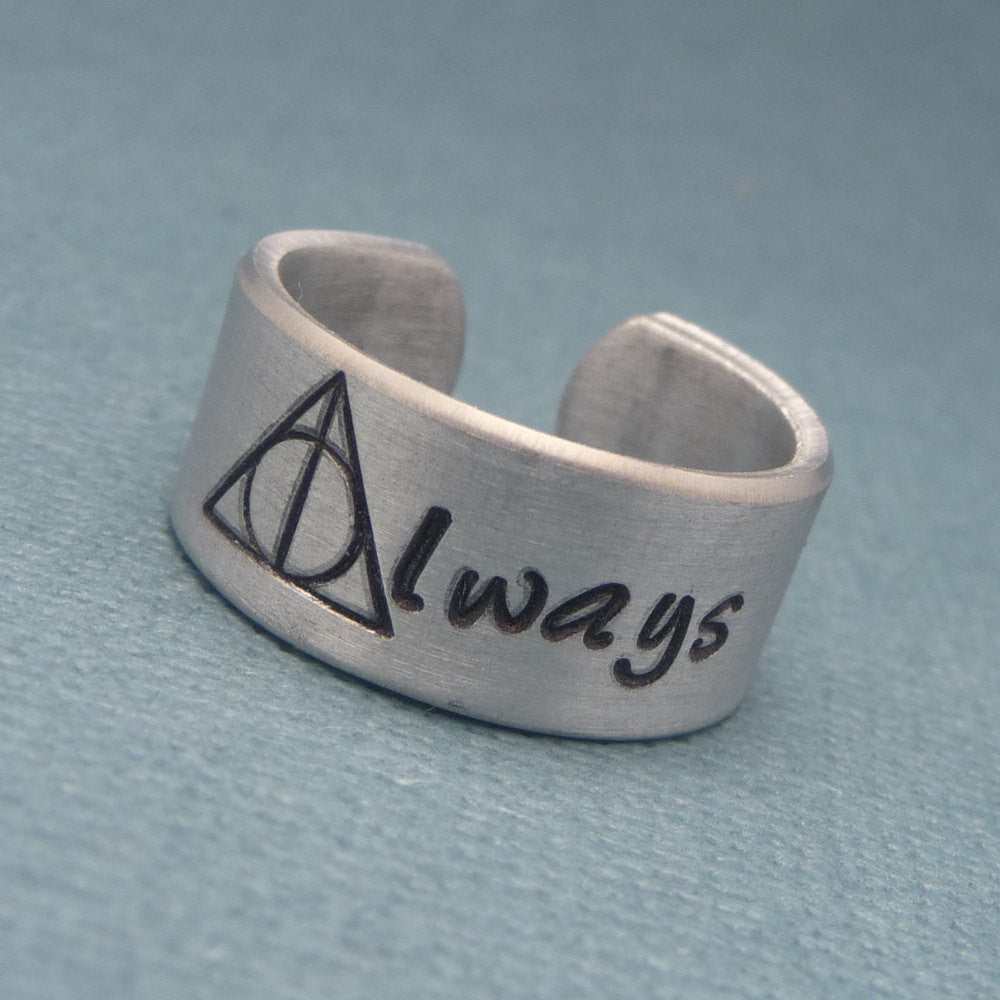 Harry Potter Inspired - Always - A Hand Stamped Aluminum Ring