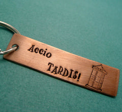 Doctor Who Inspired - Accio TARDIS - A Hand Stamped Copper Keychain