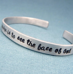Les Miserables Inspired - To Love Another Person Is To See The Face Of God - A Hand Stamped Bracelet in Aluminum or Sterling Silver