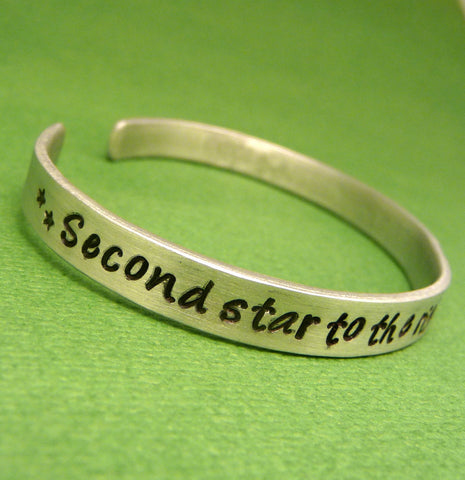 Peter Pan Inspired - Second Star To The Right And Straight On 'Til Morning - A Hand Stamped Bracelet in Aluminum or Sterling Silver