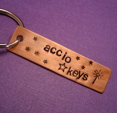 Harry Potter Inspired - Accio Keys - A Hand Stamped Copper Keychain