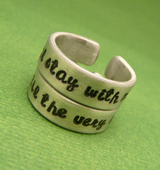 Harry Potter Inspired - You'll Stay With Me & Until The Very End - A Pair of Hand Stamped Aluminum Rings