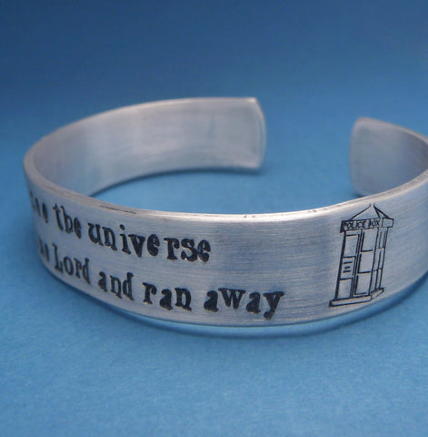 Doctor Who Inspired - Stole A Time Lord ... - A Hand Stamped Aluminum Bracelet