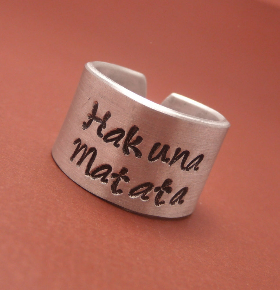 Lion King Inspired - Hakuna Matata - A Hand Stamped Aluminum Ring