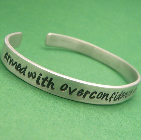 Doctor Who Inspired - Armed With Overconfidence And A Small Screwdriver - A Hand Stamped Bracelet in Aluminum or Sterling Silver