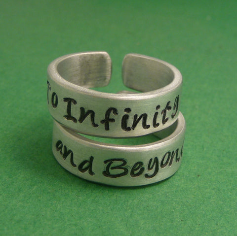 Toy Story Inspired - To Infinity and Beyond - A Pair of Hand Stamped Aluminum Rings