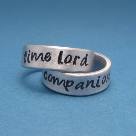 CLEARANCE - Doctor Who Inspired - Time Lord & Companion - A Pair of Hand Stamped Aluminum Rings