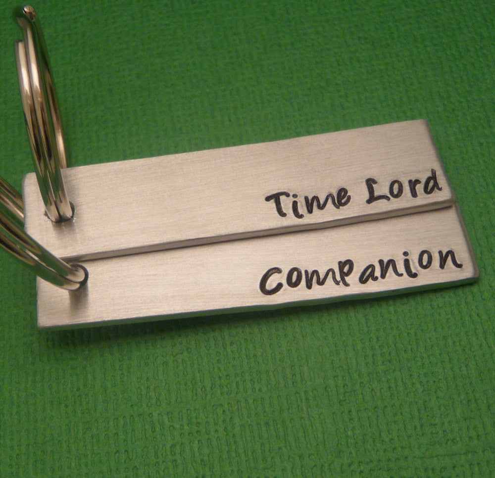 Doctor Who Inspired - Time Lord & Companion - A Pair of Hand Stamped Keychains in Aluminum or Copper