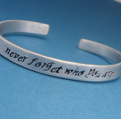 Lion King Inspired - Never Forget Who You Are - Hand Stamped Bracelet in Aluminum or Sterling Silver