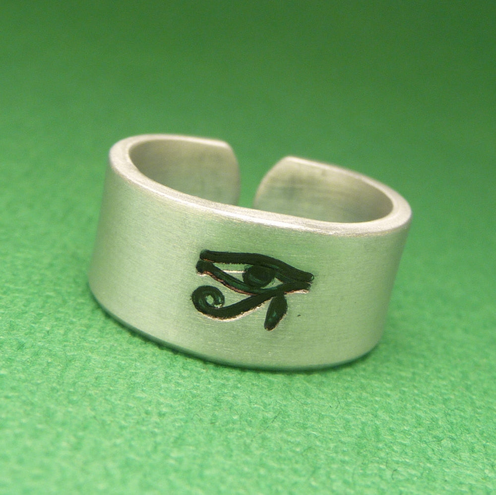 Eye of Horus - A Hand Stamped Aluminum Ring