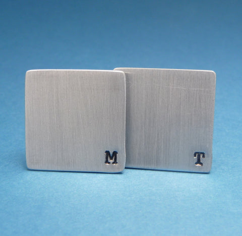 CUSTOM - A Pair of Monogrammed Hand Stamped Aluminum Cufflinks