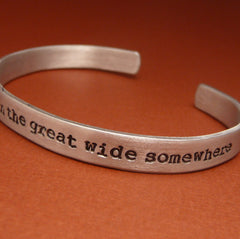 Beauty & The Beast Inspired - I Want Adventure In The Great Wide Somewhere - A Hand Stamped Bracelet in Aluminum or Sterling Silver