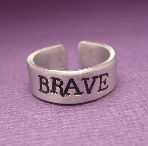 Brave Inspired - BRAVE - A Hand Stamped Aluminum Ring