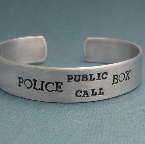 Doctor Who Inspired - Police Public Call Box - A Hand Stamped Aluminum Bracelet