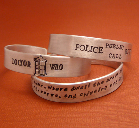 "For larger wrists - your choice of a 7"" or 8"" Long Custom Hand Stamped on ONE SIDE 1/2 inch Aluminum Cuff Bracelet"