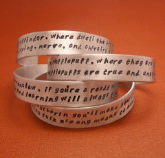 Harry Potter Inspired - CHOOSE ONE - Sorting Hat Song - A Hand Stamped Aluminum Bracelet