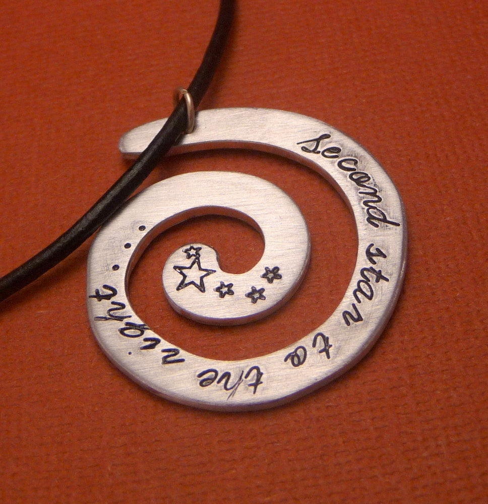 Peter Pan Inspired - Second Star To The Right... - A Hand Stamped Aluminum Spiral Necklace
