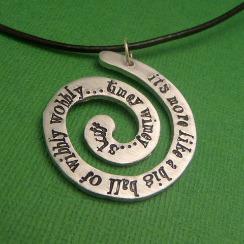 Doctor Who Inspired - It's more like a big ball of wibbly wobbly...timey wimey...stuff - A Hand Stamped Aluminum Spiral Necklace
