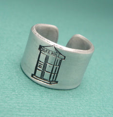 Doctor Who Inspired - The Girl Who Waited - A Double Sided, Hidden Message, Hand Stamped Aluminum Ring