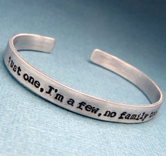 Orphan Black Inspired - Just One, I'm a Few, No Family Too, Who Am I  - A Hand Stamped Bracelet in Aluminum or Sterling Silver