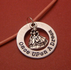 Sleeping Beauty Inspired - Once Upon A Dream - A Hand Stamped Aluminum Washer Necklace