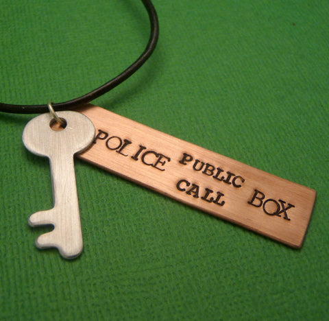 Doctor Who Inspired - Police Public Call Box - A Hand Stamped Necklace in Copper, Aluminum or Brass