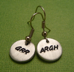 Grr Argh - A Pair of Hand Stamped Aluminum Earrings