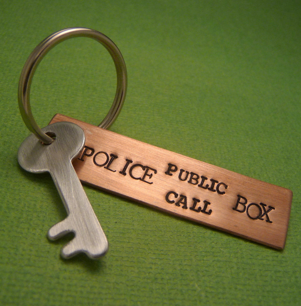 Doctor Who Inspired - Police Public Call Box - A Hand Stamped Keychain in Copper, Aluminum or Brass