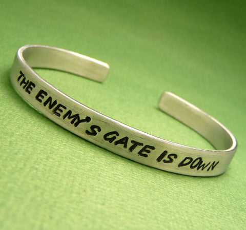 Ender's Game Inspired - The Enemy's Gate Is Down - A Hand Stamped Bracelet in Aluminum or Sterling Silver