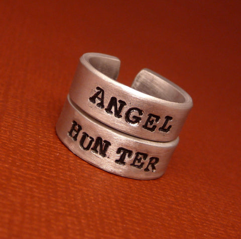 Supernatural Inspired - Angel & Hunter - A Pair of Hand Stamped Aluminum Rings