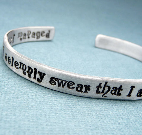 Harry Potter Inspired - I Solemnly Swear That I Am Up To No Good. Mischief Managed - A Double-Sided Hand Stamped Aluminum Cuff Bracelet