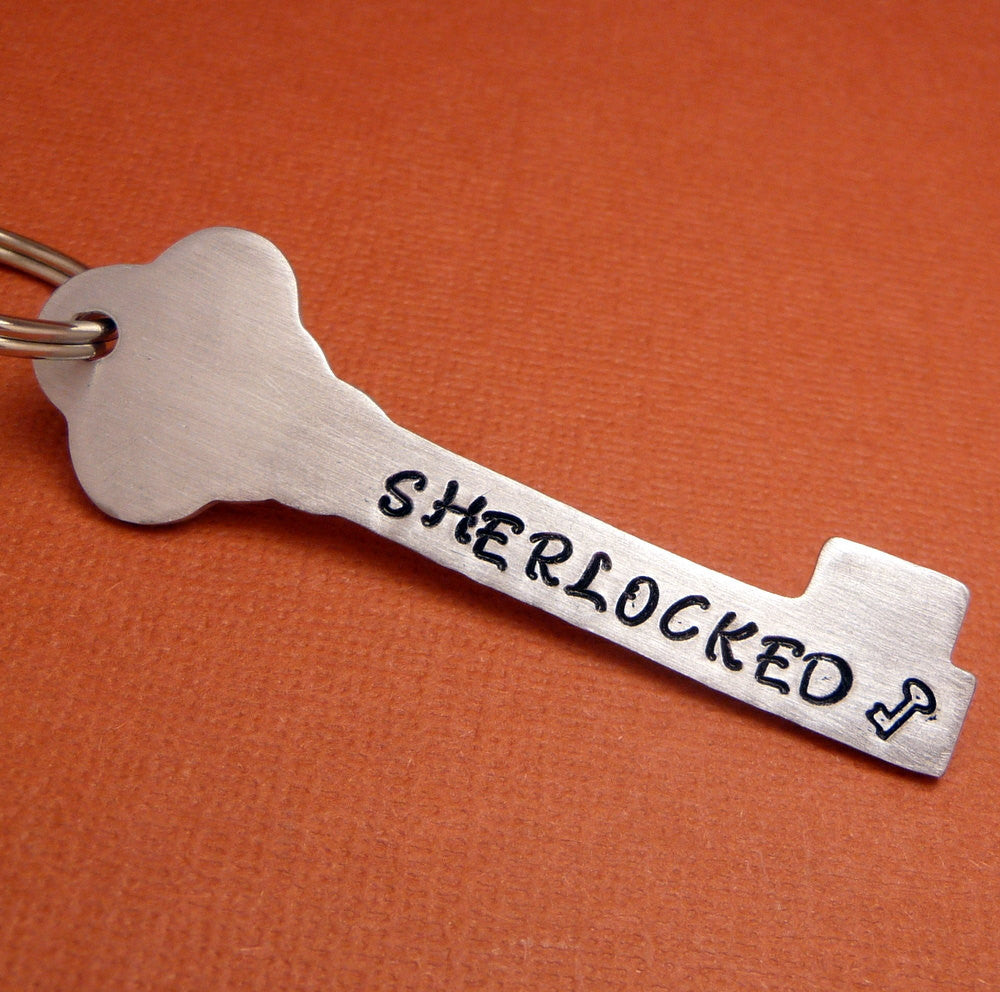 Sherlock Holmes Inspired - SHERLOCKED - A Hand Stamped Aluminum Keychain