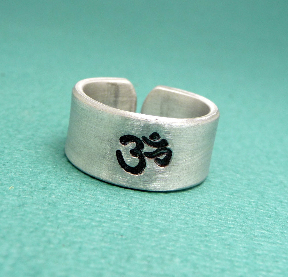 Om - A Hand Stamped Aluminum Ring