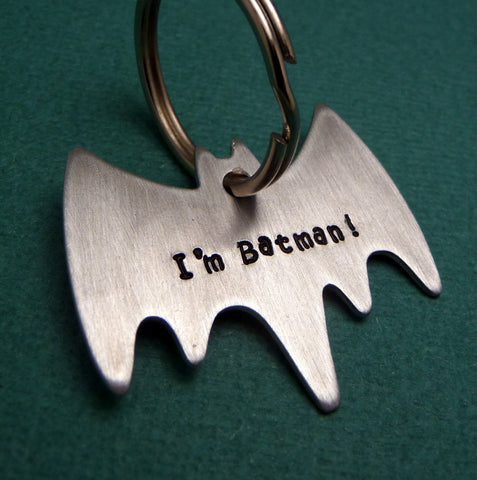 Supernatural Inspired - I'm Batman - A Hand Stamped Aluminum Keychain