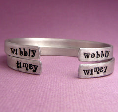 Doctor Who Inspired - Wibbly Wobbly & Timey Wimey - A Pair of Hand Stamped Bracelets in Aluminum or Sterling Silver