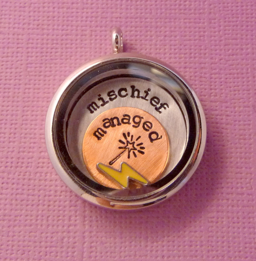 Harry Potter Inspired - Mischief Managed - A Floating Locket / Memory Locket / Living Locket