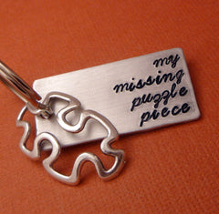 Glee Inspired - My Missing Puzzle Piece - A Hand Stamped Keychain in Aluminum or Copper w/Puzzle Charm