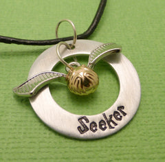SHOP EXCLUSIVE - Harry Potter Inspired - Seeker - A Hand Stamped Washer Necklace in Aluminum or Copper