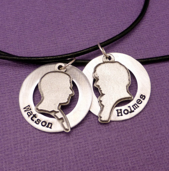Sherlock Inspired - Holmes & Watson - A Set of 2 Hand Stamped Aluminum Washer Necklaces