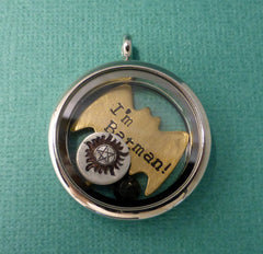 Supernatural Inspired - I'm Batman! - A Floating Locket / Memory Locket / Living Locket