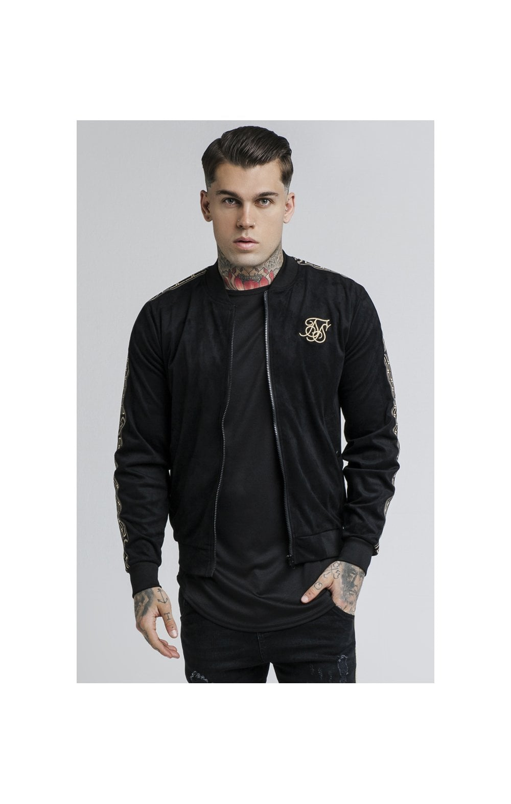 Load image into Gallery viewer, SikSilk Cartel Suede Bomber – Black (1)