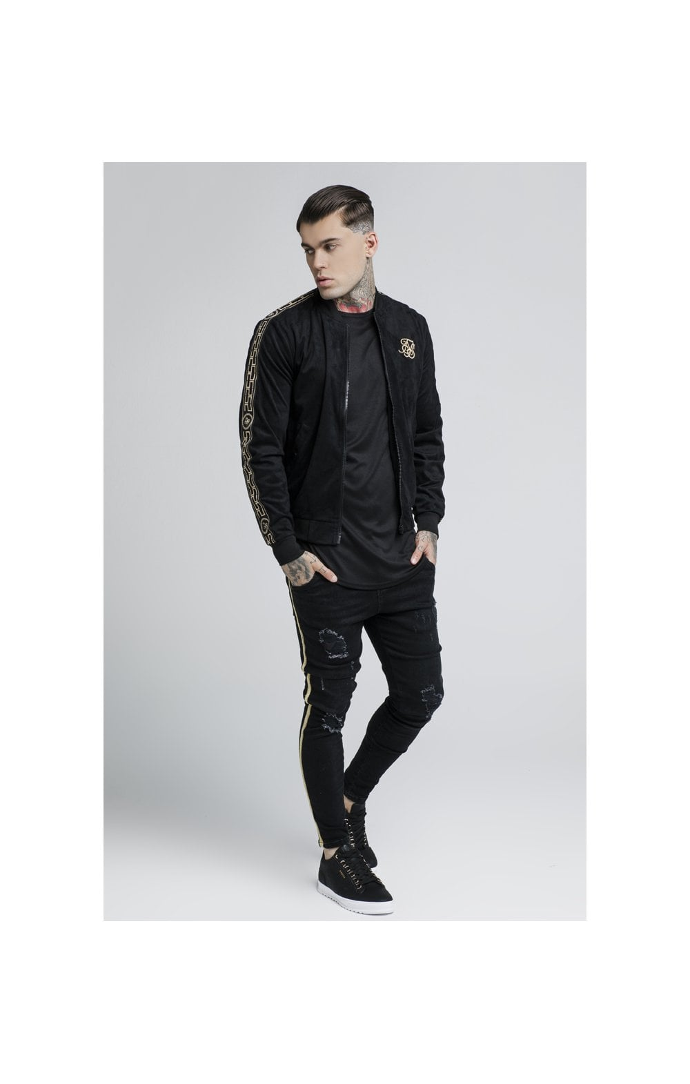 Load image into Gallery viewer, SikSilk Cartel Suede Bomber – Black (2)